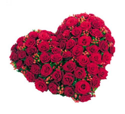 Coeur de roses coeur funeraaire coeur mortuaire coeur - Bouquet de fleur en coeur ...