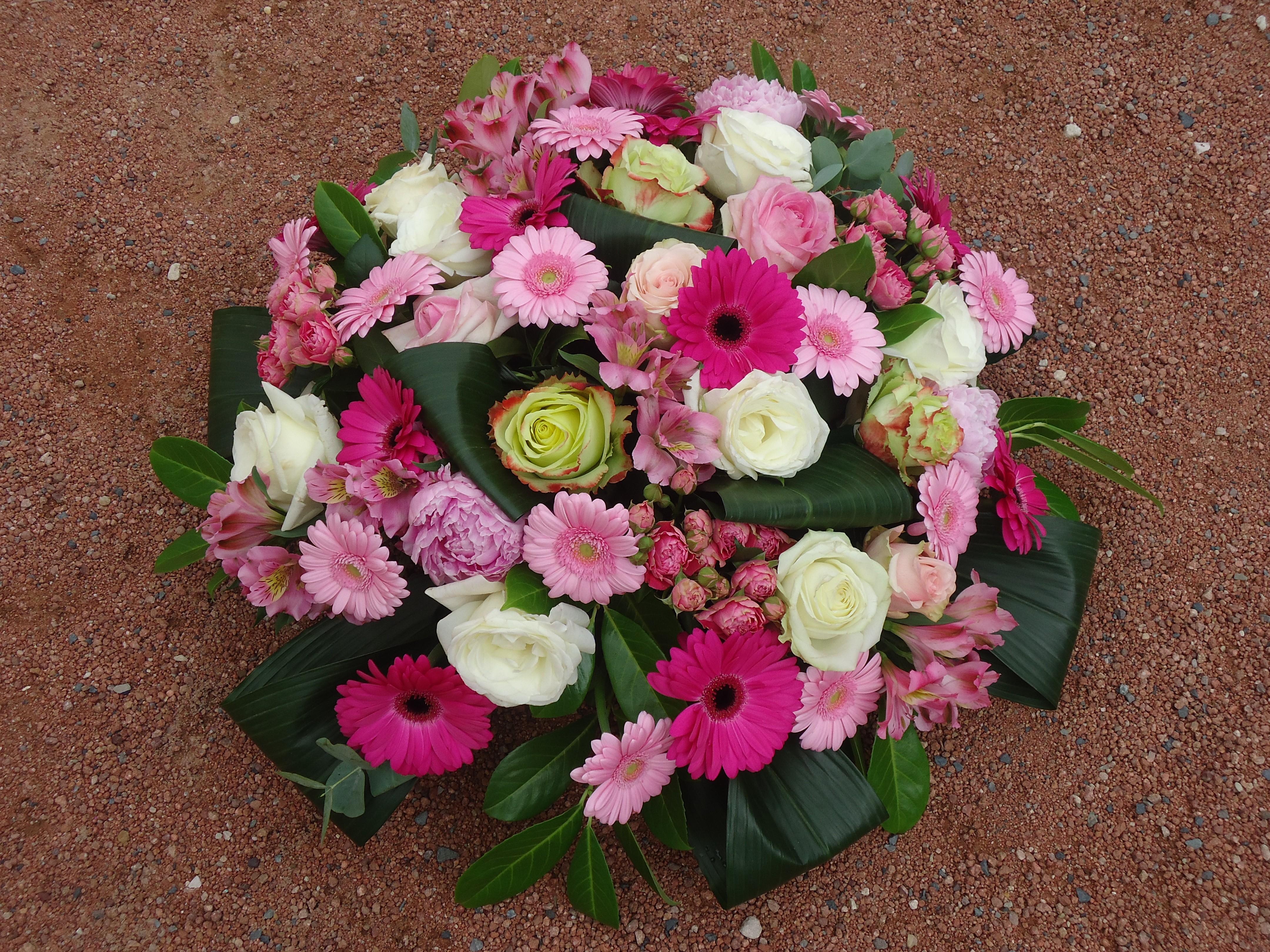 Favori Coussin rond fleurs deuil, coussin fleurs funéraires, coussin  AB11