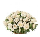 COUSSIN ROND DE ROSES BLANCHES, ref CRRB 03