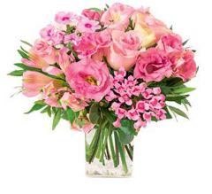 bouquet rond fleurs pastel