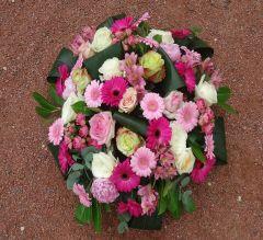 Coussin de fleurs rond obsèques Bron Parc cimetière du Grand Lyon