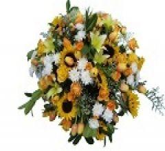 coussin rond fleurs obsèques.
