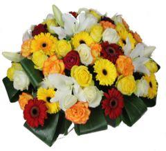Coussin fleurs funérailles Arnas