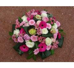 Coussin rond de fleurs funéraires Gleizé